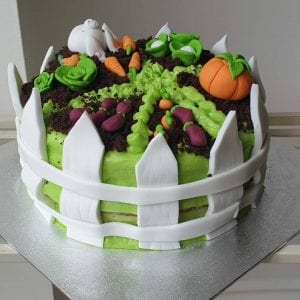 Picture of a cake designed like a garden